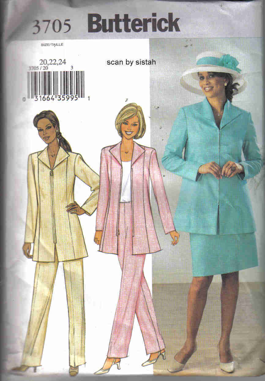 Butterick 3705 Pattern 14 16 18 skirt pants jacket suit