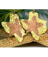 Texas Star State Mixed Metal Earrings Brass Cop... - $17.95
