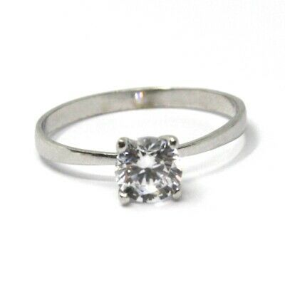 SOLID 18K WHITE GOLD RING, SOLITAIRE WITH CUBIC ZIRCONIA 0.90 CARATS ITALY MADE