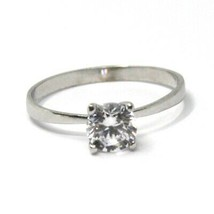 SOLID 18K WHITE GOLD RING, SOLITAIRE WITH CUBIC ZIRCONIA 0.90 CARATS ITALY MADE image 1