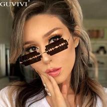 Hollow Steampunk Sunglasses Women Vintage Rimless Sunglasses Men Small Frames Re image 3
