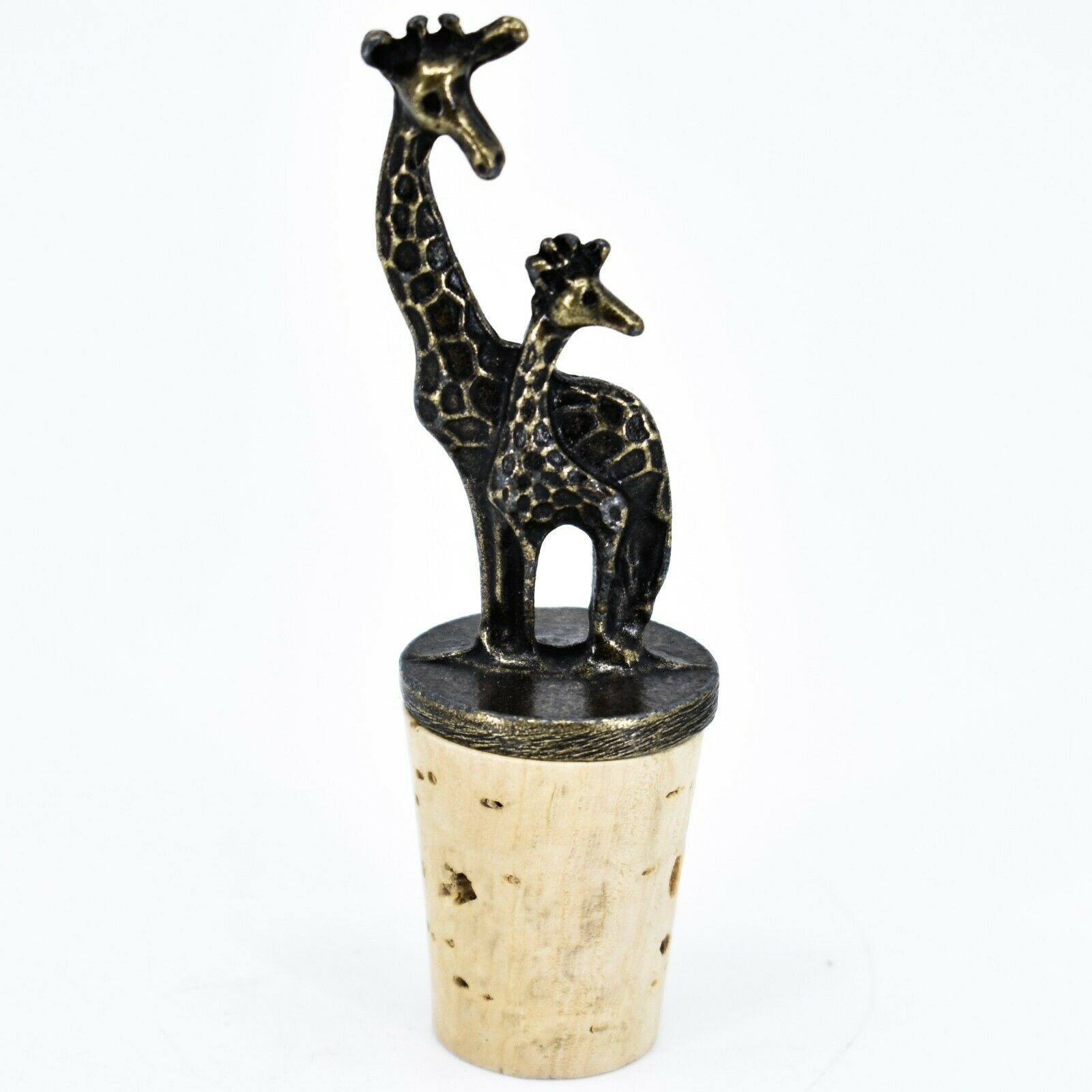 South African Cast Metal Antique Brass Finish Giraffes Wine Bottle Cork Stopper