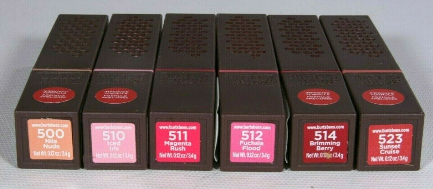 Primary image for New Burts Bees Satin Lipstick Lot Of 6 Pieces One Of Each Color