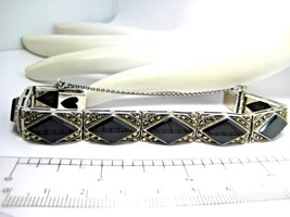 Ladies Vintage Cuff Bracelet Sterling Silver with Onyx and Marcasite 28.9g - $175.00