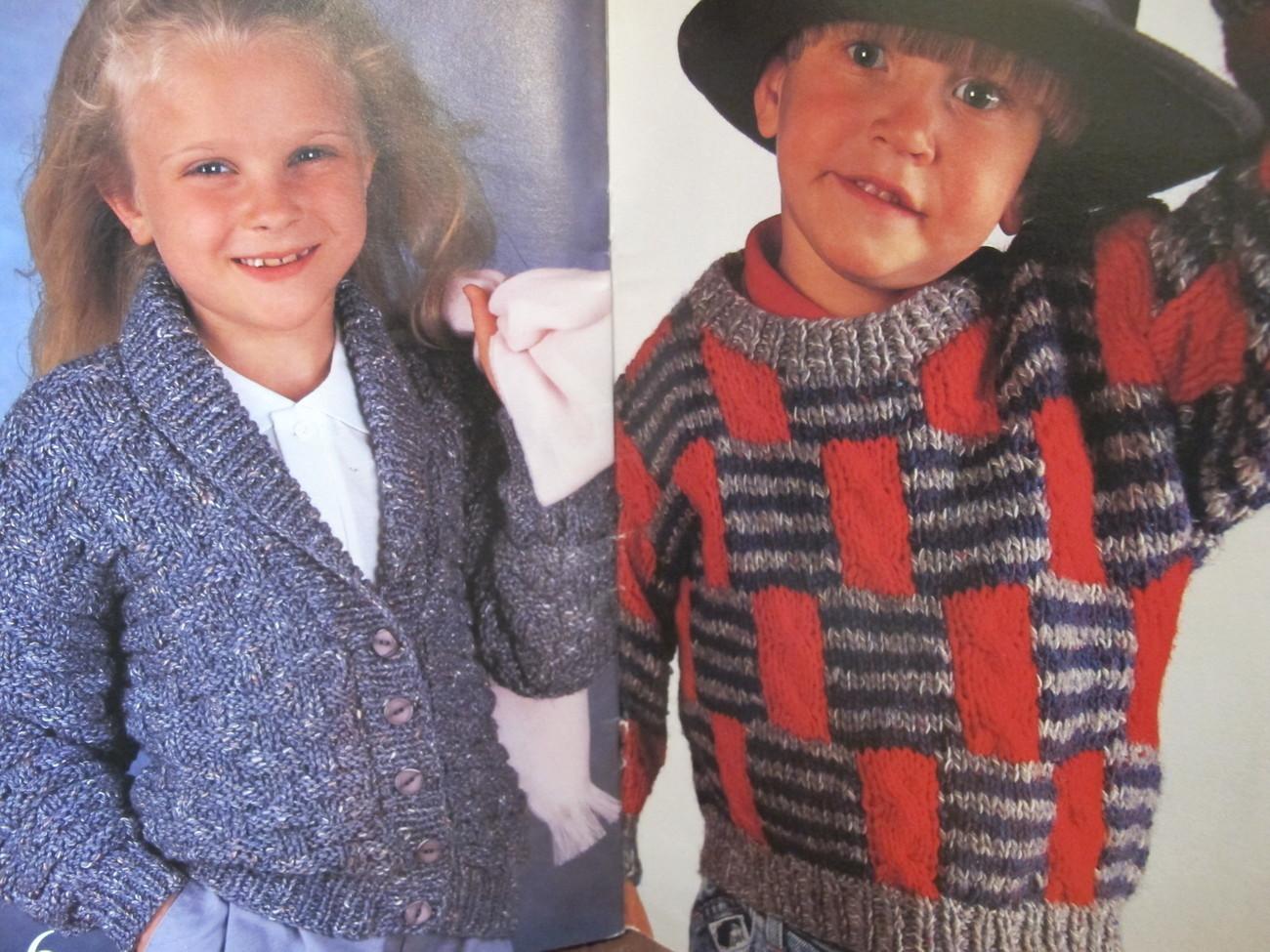 Shetland Chunky Knitting Patterns Pullovers Cardigans Jackets Sweaters CHILDREN