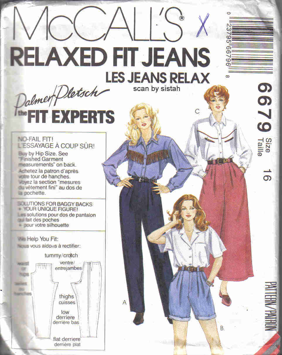 McCall's 6679 Pattern 16 Jeans Culottes Shorts relaxed fit