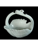 Vintage Porcelain Pottery Intertwined Swans Handle Swan Dish GREAT DETAIL - $8.99