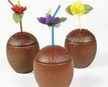 Island Drinking Party Get-a-way Hawaiian Tropical Straw Beach Luau Coconut Cups