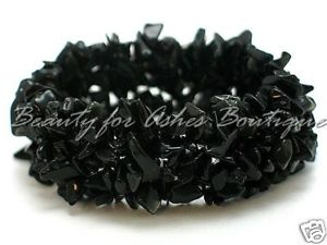 Love Beauty for Ashes Black Semi Precious Stone Chip Chunky Stretch Brac... - $9.95
