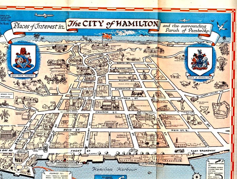 Bermuda (Vintage 1969) Maps- Hamilton Bermuda & Saint George