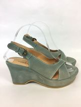 Suede 5 Heels 6 Back Toe Sundance Peep Green 37 Sling Women's Wedge US 5wF0q7P