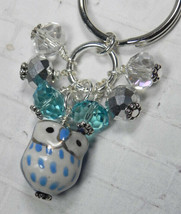 Blue Owl Cluster Keychain Ceramic Crystal Beaded Handmade Split Key Ring... - $13.09