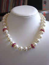 Swarovski Cream Pearl Necklace with Pink Rose accent rondelles - $39.99