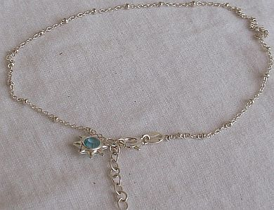 Anklet  Light blue star silver star