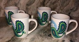 "Royal Norfolk 4 1/2"" Coffee Cups Mugs Set Of 4 Blue Green(New)SHIPS N 24HR RARE - $29.58"