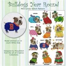 Bulldog Year Round cross stitch chart Pinoy Stitch - $10.80