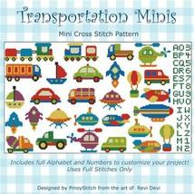 Transportation Mini Collection cross stitch chart Pinoy Stitch - $9.00