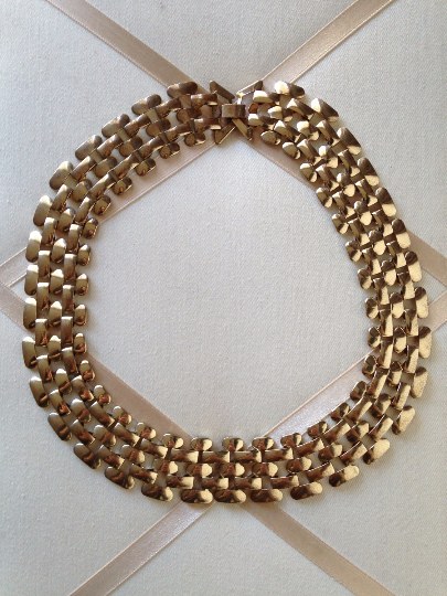 Primary image for Vintage Modernist Gold Tone Chunky Link Chain Fashion Necklace