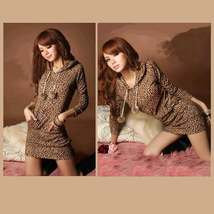 Casual Brown Leopard Print Long Sleeve Hoodie Lounger Tunic
