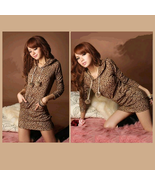 Casual Brown Leopard Print Long Sleeve Hoodie Lounger Tunic  - $46.95