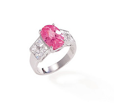 Pink CZ Ring with Clear CZ Accents - $59.95