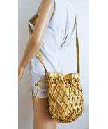 Free Ship Tianni Gold Faux Leather Purse Reptile Print Bucket Shoulder Bag - $26.99