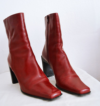 Red Leather Boots 7M Nine West - $29.99
