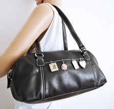 Free Ship Liz Claiborne Charm Purse Black Leather Handbag - $32.99