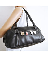 Free Ship Liz Claiborne Charm Purse Black Leather Handbag - $32.99