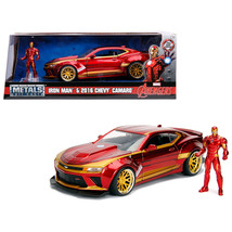 2016 Chevrolet Camaro with Iron Man Diecast Figure Marvel Series 1/24 Diecast Mo - $36.27