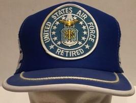 Vtg Retired Air Force Base Side Stripes Mesh Trucker Snapback Hat Cap Bl... - $31.78