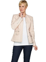 ISAAC MIZRAHI LIVE! Size 8 Lamb Leather Mixed Quilted Barn Jacket PALE B... - $142.07