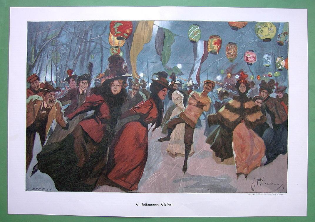 "WINTER FUN at Ice Skating Rink Evening - COLOR Victorian Era Print 14.5"" x 21"""