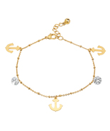 PIATELLA Ladies 18K Gold Plated Stainless Steel crystal & anchor charm a... - $14.99