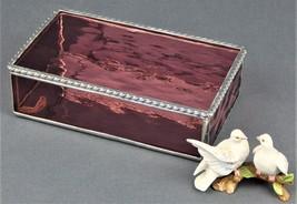 A LIGHT AMETHYST WATERGLASS JEWELRY BOX WITH A BEAUTIFUL ROAP TWIST EDGE... - $69.25