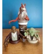 Star Wars Cup Toppers by Pizza Hut, KFC Taco Bell Mace Windu, Yoda & Jar... - $12.82
