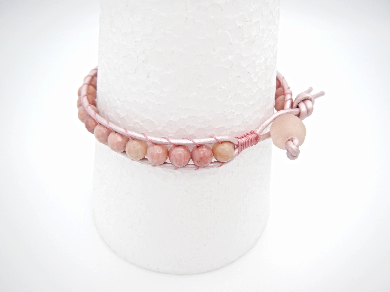 Rhodonite Leather Bracelet, Single Wrap, Natural Gemstone, Glass Bead, Pink