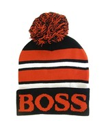 Boss Adult Size Tri-Color Striped Winter Knit Pom Beanie Hats (Black/Red) - $12.95