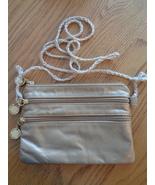 Park Avenue Gold Metallic Shoulder Bag Triple Zip Crossbody Purse Croche... - $21.24