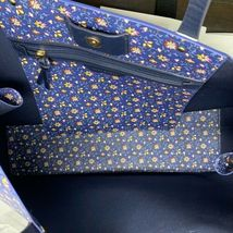 Tory Burch NWT Kerrington Square Tote Leather Blue Wild Pansy $298 Shoulder Bag image 5