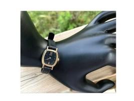 Seiko Women's Watch Vintage Gold Wristwatch Black Leather Band Dress Luxury - $62.68