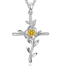 November Birthstone Yellow Citrine Necklace Women (Citrine Rose Hope Nec... - $62.28