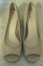 Cole Haan Air Tali Peep Toe Wedge Pumps Size 8.5 Sandstone Patent Leather - $39.50