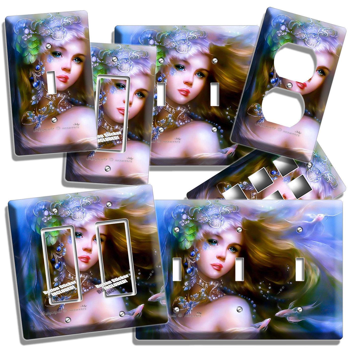 SWEET LITTLE MERMAID BEAUTIFUL GIRL LIGHT SWITCH OUTLET WALL PLATE ROOM HD DECOR - $10.99 - $21.99