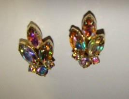 Vtg 1960s Clear Pearlescent Sheen Cluster Clip On Earrings - $8.50