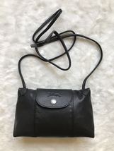 France Made Longchamp Le Pliage Cuir Crossbody Bag Navy Blue - $199.00