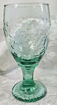 "Vintage Libbey Spanish Green Orchard Fruit Water Goblet 7"" image 6"