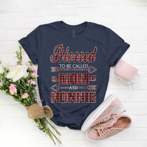 Blessed To Be Called Mom And Nonnie Buffalo Plaid T- Shirt Birthday Funn... - $15.99+