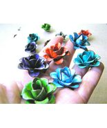 TWELVE colorful metal rose flowers for accents, embellishments, crafting  - $35.98