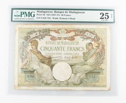 1937-1947 (ND) Madagascar 50 Francs Note (VF-25 NET PMG) Banque Fifty P-38 - $200.48